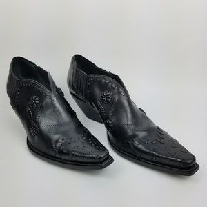 BCBGirls Black Leather Western Cowboy Booties 10